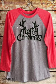 4d4e4e9b2 Merry Christmas Antler Baseball T-Shirt. Antler Raglan Christmas Shirt.  Christmas Baseball Tee. Available in Unisex XS to 2X
