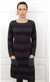 Milker Striped Woollen Nursing Dress Grey/Plum/Green