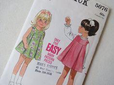 Vintage Pattern 60s Girls Pleated Jumper Dress  by ErikawithaK, $9.00