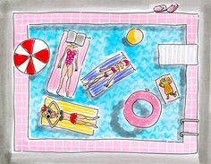 Swimming pool time by Blond-Amsterdam - Blond Amsterdam, Amsterdam Winter, Amsterdam Holidays, Amsterdam School, Summer Drawings, Watercolor Fashion, Doodle Drawings, Illustrations And Posters, Graphic Illustration