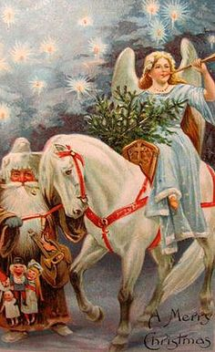 The Christkind rides a white horse and blows on a trumpet while carrying a basket of greenery.  Santa Claus stands to the side with an assortment of toys.