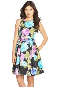 9162e196cd Eliza J Belted Floral Print Faille Fit   Flare Dress Size 8 at Amazon  Women s Clothing