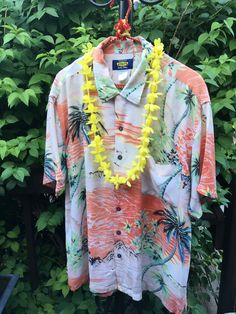 Vintage Tropical Shirt, 1960s, size L by JustClickThreeTimes on Etsy
