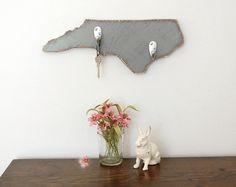 NORTH CAROLINA custom wood organizer key hooks rustic primitive Slate Gray on Etsy, $45.00