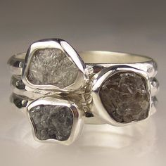Rough Diamond Ring Stacking Set, Made to Order , Sterling Silver, Engagement
