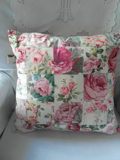 rose patchwork cushion