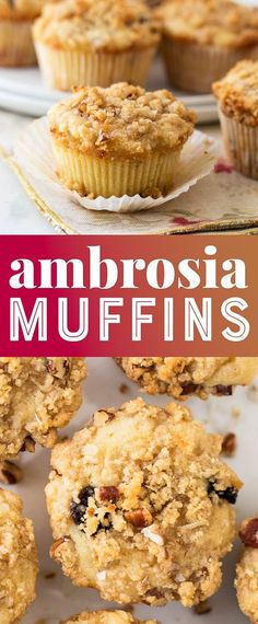 Ambrosia Muffins are filled with sweet coconut, cherries, and pecans! These moist muffins are a crowd favorite dessert recipe.Ambrosia Muffins are filled with sweet coconut, cherries, and pecans! These moist muffins are a crowd favorite dessert recipe. Muffin Recipes, Cupcake Recipes, Dessert Recipes, Oreo, Simple Muffin Recipe, Brownie, Cupcakes, How Sweet Eats, Sweet Desserts