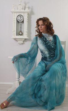 Nunofelt light  dress Blue Lagoon by doseth on Etsy, €285.00