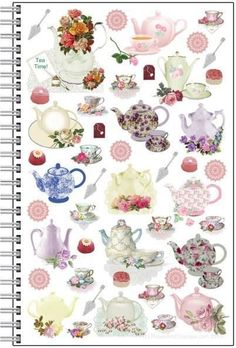 Tea Time Spiral Notebook Journal - Roses And Teacups