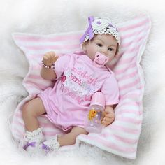 93.73$  Watch now - http://alihd1.worldwells.pw/go.php?t=32716577148 - Latest Super Cute Reborn Silicone Baby Girl Gift Production Educational Enlightenment Baby Toys 22inch/55cm Juguetes Brinquedos 93.73$