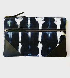 Bleached Denim & Leather Zipper Clutch | Sized for arm-tucking and tablet-toting, this bleached denim c... | Clutches & Special Occasion Bags