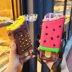 £9.97  20% Off | New Summer Cute Donut Ice Cream Water Bottle With Straw Creative Square Watermelon Cup Portable Leakproof Tritan Bottle BPA Free Square Watermelon, Donut Ice Cream, Cheap Water Bottles, Water Bottle With Straw, Square Water Bottle, Cute Donuts, Cute Cups, Cool Inventions, Aesthetic Food