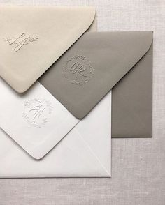 New Take on Old Romance WEBSTA Oldie but a goodie. Blind embossed monograms - subtle yet bold. Just my kinda thing ?WEBSTA Oldie but a goodie. Blind embossed monograms - subtle yet bold. Just my kinda thing ? Invitation Card Design, Wedding Invitation Design, Wedding Stationary, Embossed Wedding Invitations, Wedding Branding, Envelopes Design, Stationery Design, Carton Invitation, Invitation Envelopes
