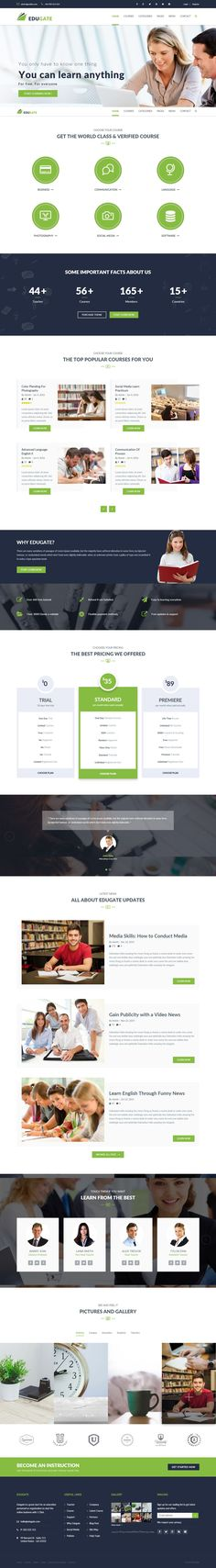 EduGate is a Modern, Creative, Responsive WordPress Theme suitable for #Educational Institutions like Universities and Colleges, Online Courses / Online Learning and Events #website.