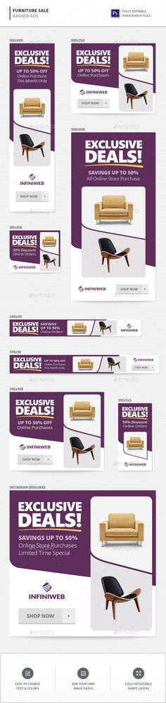 Furniture Sale Banners - #Banners & #Ads Web Elements Download here:   https://graphicriver.net/item/furniture-sale-banners/20456473?ref=alena994