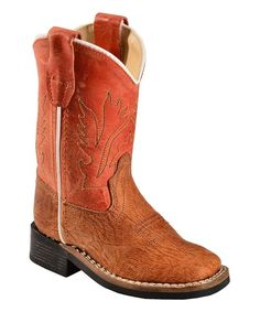 Tan & Orange Stitched Cowboy Boot - Infant & Toddler