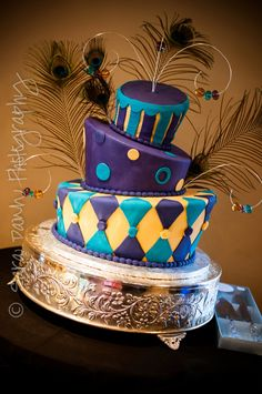 Mardi Gras themed wedding cake.