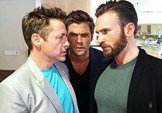 Chris Evans, Chris Hemsworth, Robert Downey Jr. This picture. Too. Much. Hotness.