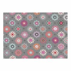 KESS InHouse Jolene Heckman 'Mini Floral ' Pink Gray Dog Place Mat, 13' x 18' ^^ Additional details at the pin image, click it  : Dog food container