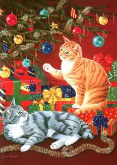 Cute Christmas Cats by the Christmas tree and presents Cat Christmas Cards, Christmas Kitten, Christmas Scenes, Christmas Animals, Vintage Christmas Cards, Christmas Pictures, Christmas Greetings, Christmas Time, Merry Christmas