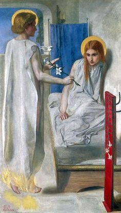 """Ecce Ancilla Domini (Latin: """"Behold the handmaiden of the Lord""""), or The Annunciation, is an oil painting by the English artist Dante Gabriel Rossetti, first painted in 1850 and now in Tate Britain in London. Dante Gabriel Rossetti, John Everett Millais, Gottfried Helnwein, Pre Raphaelite Paintings, Christina Rossetti, Pre Raphaelite Brotherhood, Tate Gallery, Victorian Art, Modern Artists"""