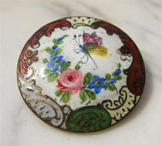 French Champleve Enamel Gilded Bronze Floral Butterfly Antique Button Brooch Pin | eBay, $35.00