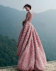 crochet pink roses dress