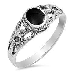 Radiant Shape Black Onyx .925 Sterling Silver Ring Sizes 5-10