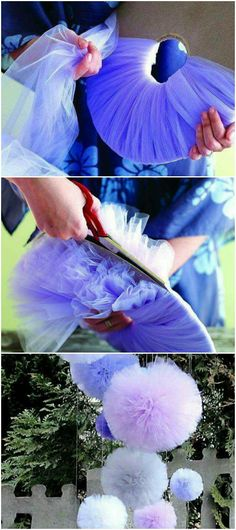 DIY Pompom Hochzeitsdeko DIY Pompom Hochzeitsdeko More from my site DIYs Food Art. 😍 25 DIY Mardi Gras Decorations which are warm & festive – Hike n Dip Easy DIY Easter Bunny Party Bags Decor Crafts, Diy And Crafts, Tulle Crafts, Creative Crafts, Creation Deco, Baby Shower, Ideas Para Fiestas, Partys, Diy Party Decorations