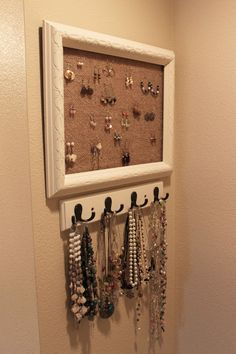 interesting DIY jewelry organizer picture frame with DIY Jewelry Holder Pinching and white frame design ideas of Smart DIY Jewelry Organizer Ideas To Keep Your Jewelry from Furniture Ideas