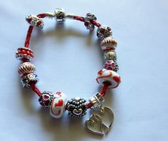 Ships Free: Happy Valentine's Day - A Love red leather bracelet s & Heart Dangle HVD073115 by BlingItOutLoudCharms on Etsy