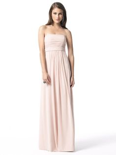 The perfect dress for every lady in your bridal party, Dessy 2845 Bridesmaid is charming and extremely understated for the look of beauty. With a strapless neckline and gently shirred skirt which begins at the empire waist, this lux chiffon gown gently flows to the floor for a look of elegance. #timelesstreasure