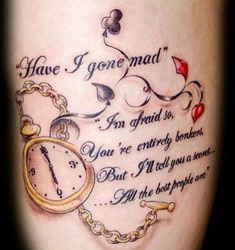 Thinking about getting an alice in wonderland tattoo? Then check out our list of already amazing and unique alice in wonderland related tattoos. Tattoo People, Tattoo You, Arm Tattoo, Sleeve Tattoos, Tattoo Small, Rib Tattoos, Arrow Tattoos, Feather Tattoos, Ankle Tattoo