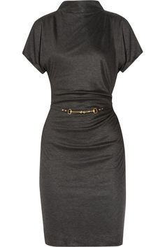 Gucci Draped Belted Jersey Dress in Gray (anthracite)