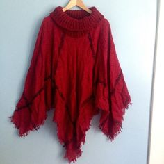 Wine Red Poncho Cape Brand new Boutique Sweaters Shrugs & Ponchos