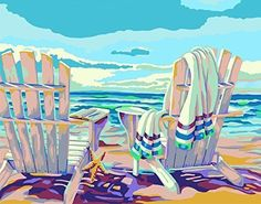 Plaid Creates Paint by Number Kit 11 by 22058 Seaside Plaid Paint By Number, Paint By Number Kits, List Of Paintings, Unique Hoodies, Painted Pots, Arts And Crafts Supplies, Texture Art, Nautical Theme, Diy Projects To Try