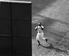 Willie Mays - NY Giants - Outfield shot of his famous catch against Vic Wertz in the 1954 World Series.
