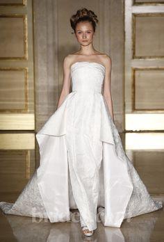 Brides.com: . Ivory jacquard strapless sheath wedding dress with a winger train, Douglas Hannant  See more Douglas Hannant wedding dresses in our gallery.