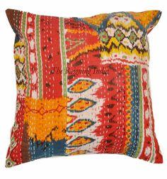 Handmade Cotton Indian Kantha Sofa Throw Floor Cushion Cover Pillows Case 11135