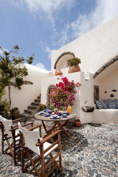 terraza con suelo de piedra