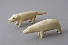 Two Inuit Bearing Sea Eskimo Carved Walrus Ivory Hunting Charms  (Inuit Bearing Sea )