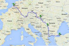 Rough outline of the route Patrick Leigh Fermor walked across Europe in the 1930s.