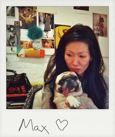 marissa webb and max at the studio. pug love