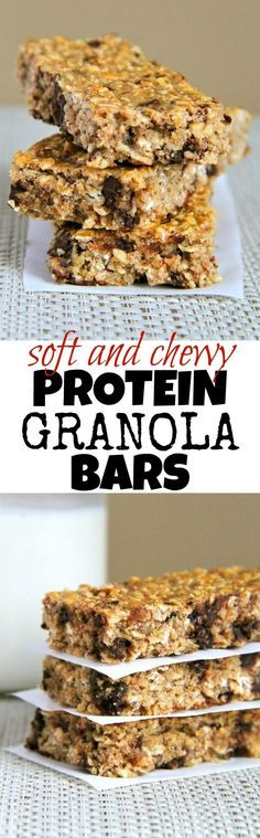 Soft and Chewy Protein Granola Bars -- easy, healthy, homemade granola bars that the whole family will love! Naturally gluten-free and easily made vegan || runningwithspoons...