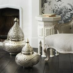 Orientalische Lampen Bodenleuchte Silber Kamin Wandgemlde Leseecke Bcher Sessel