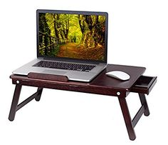 BirdRock Home Bamboo Laptop Bed Tray (Walnut)| Multi Position Adjustable  Surface |