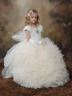White Angels & Snowflakes Girls Feather Dress-Gown