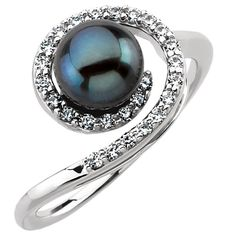 Black Akoya Pearl and Diamond Swirl Ring