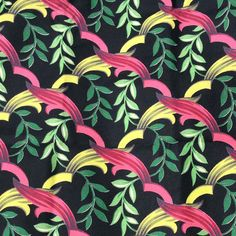 Vintage black background barkcloth fabric from the 1940s.