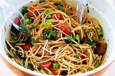 Whole Wheat Spaghetti Salad with Italian Sausage, Tomatoes, Olives ...